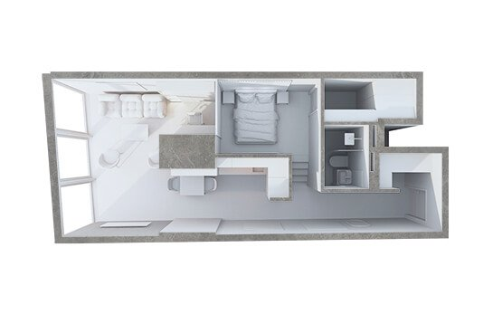 One Room 3D Grey Floor Plan
