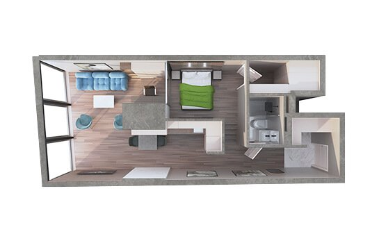 One Room 3D Floor Plan